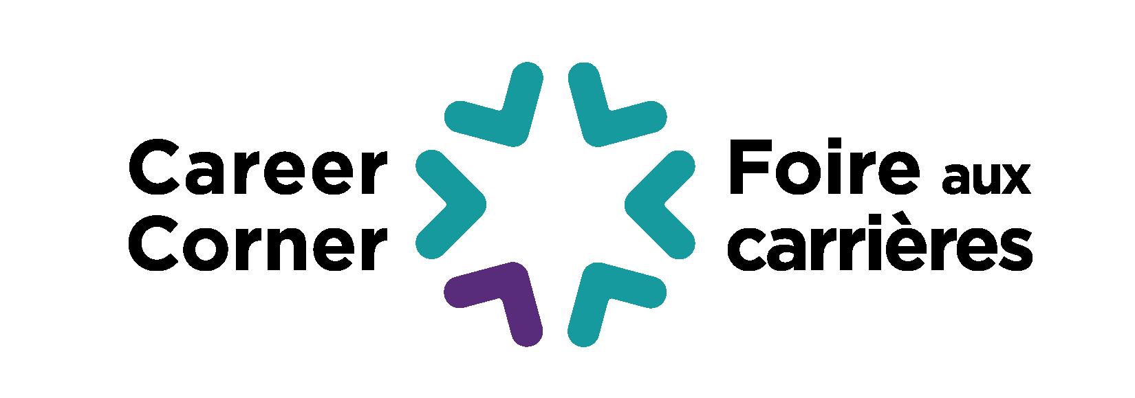 "Teal and purple logo of the Federation's Career Corner event series, with text reading ""Career Corner"". En français on voit les mots « Foire aux carrières » ."