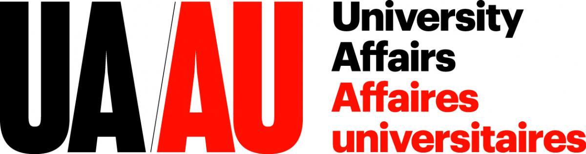Red and black bilingual logo of University Affairs. Le marque bilingue d'Affaires universitaires en rouge et noir.